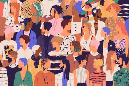 Folla di uomini e donne giovani e anziani in abiti hipster alla moda. Gruppo eterogeneo di persone alla moda che stanno insieme. Società o popolazione, diversità sociale. Illustrazione vettoriale di cartone animato piatto Vettoriali