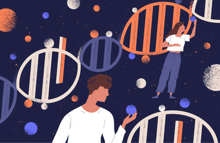 DNA molecules, man and women holding genes. Concept of scientific research in ancestry genetics, genomics, genome mutations, heredity or biological inheritance. Flat cartoon vector illustration