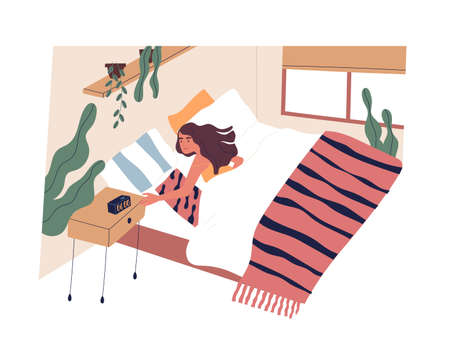 Young woman waking up in morning. Female character lying in bed and turning off alarm clock. Start of working day, everyday life, daily activity. Colorful vector illustration in flat cartoon style 向量圖像