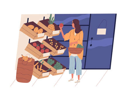 Cute young woman with shopping basket buying food at grocery store. Funny girl choosing fruits and vegetables at supermarket. Daily routine, everyday activity. Flat cartoon vector illustration Illustration