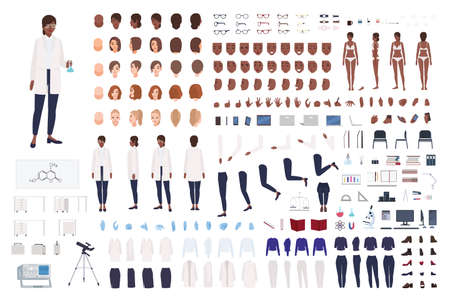 African American woman scientist or scientific worker constructor set or DIY kit. Collection of female body parts and lab equipment isolated on white background. Flat cartoon vector illustration