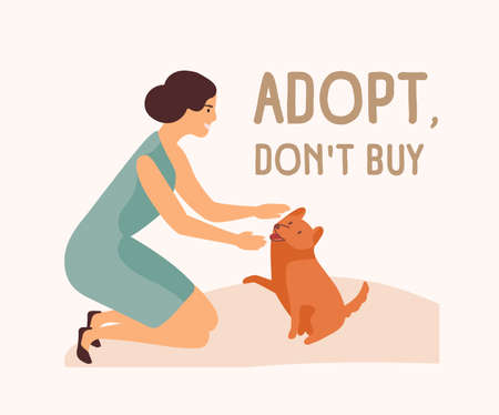 Smiling woman, adorable playful dog and Adopt Don't Buy slogan. Adoption of stray and homeless animals from shelter, pound, rehabilitation or pet retention center. Flat cartoon vector illustration