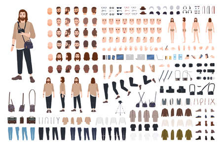 Photographer or photo journalist constructor kit or avatar generator set. Bundle of body parts, casual clothes, equipment. Male cartoon character. Front, side, back views. Flat vector illustration