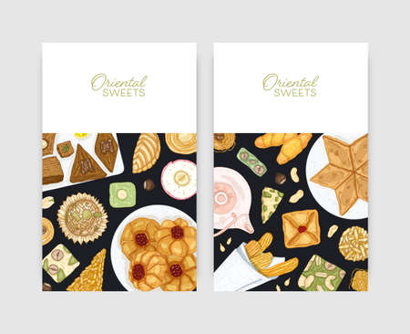 Bundle of flyer or poster templates with oriental desserts on plates. Traditional sweets, tasty confections, delicious pastry. Hand drawn realistic illustration for confectionery advertisement.