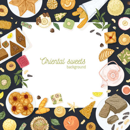 Square background template with frame made of oriental sweets lying on plates. Traditional dessert meals, tasty confections, delicious pastry food. Elegant hand drawn realistic vector illustration