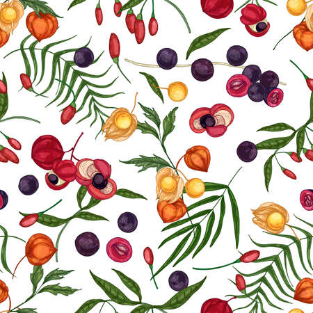 Elegant seamless pattern with fresh goji, acai, guarana, physalis fruits and berries on white background. Backdrop with organic superfoods. Natural vector illustration for fabric print, wallpaper