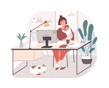 Cute happy mother holding her infant baby, sitting at desk and working on computer at home. Female freelance worker with child at workplace. Maternity and career. Flat cartoon vector illustration 矢量图像