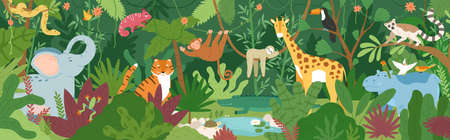 Adorable exotic animals in tropical forest or rainforest full of palm trees and lianas. Flora and fauna of tropics. Cute funny inhabitants of African jungle. Flat cartoon colorful vector illustration Stock Illustratie
