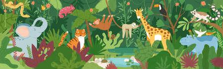 Adorables animales exóticos en el bosque tropical o bosque lluvioso lleno de palmeras y lianas. Flora y fauna de los trópicos. Lindos habitantes divertidos de la selva africana. Ilustración de vector colorido de dibujos animados plana