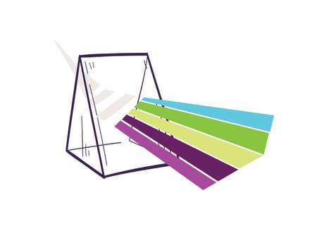 Triangular prism dispersing light beam or rainbow. Hand drawn optics laboratory equipment or optical lab tool for scientific experiment. Realistic illustration in elegant vintage style.