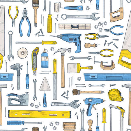 Seamless pattern with manual and powered tools for handcraft and woodworking. Backdrop with equipment for home repair and maintenance on white background. Hand drawn realistic vector illustration