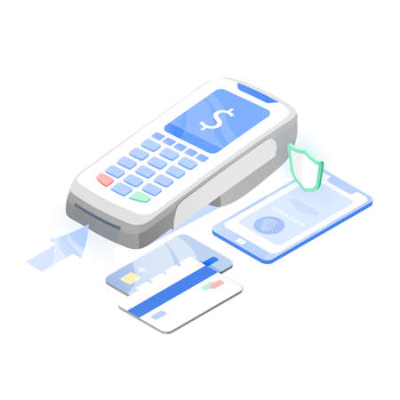 Point of sale, electronic terminal or reader, mobile phone and credit or debit cards. Contactless payment system or technology, digital banking service. Modern colorful isomeric vector illustration