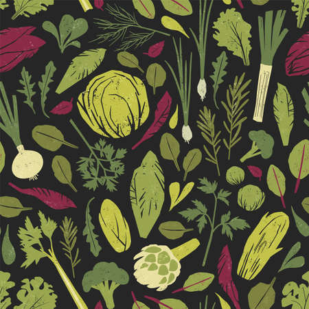 Seamless pattern with green vegetables, salad leaves and spice herbs on black background. Backdrop with wholesome organic vegetarian food. Colorful vector illustration for wrapping paper, wallpaper