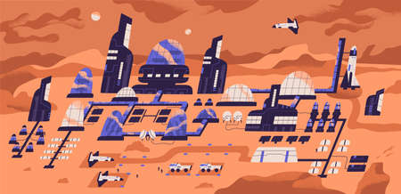 Colonization of Mars. Panoramic view of human settlement, habitat or space expedition base with modern buildings, structures and landed spacecrafts on planet surface. Flat cartoon vector illustration