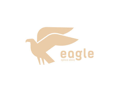 Geometric logotype with silhouette of flying eagle. Logo with carnivorous bird, avian. Modern decorative design element isolated on white background. Monochrome minimal flat vector illustration.
