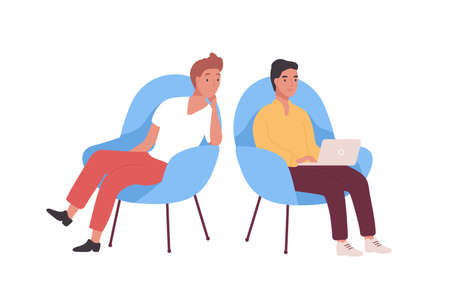 Pair of smiling employees, businessmen or office workers sitting in armchairs and working on laptop computer. Business meeting of two colleagues or clerks. Flat cartoon colorful vector illustration