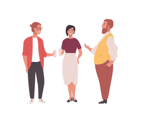 Group of employees, clerks or office workers. Funny men and women standing together and talking. Professional conversation among colleagues during coffee break. Flat cartoon vector illustration