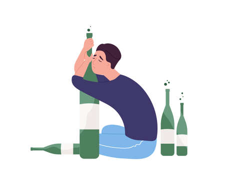 Unhappy man sitting on floor and hugging bottle.Young guy with alcohol addiction isolated on white background. Alcoholic, dipsomaniac, boozer or drinker. Flat cartoon colorful vector illustration Illustration