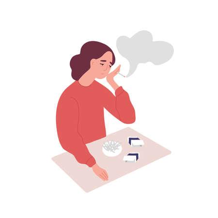 Depressed young woman smoking cigarettes. Concept of tobacco addiction, bad habit, negative behavior. Mental illness, behavioral problem, psychiatric condition. Flat cartoon vector illustration Ilustração