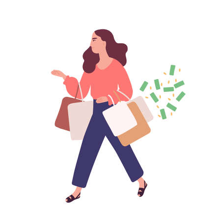 Funny woman carrying bags with purchases. Concept of shopping addiction, shopaholic behavior. Mental illness, behavioral problem, psychiatric condition. Flat cartoon colorful vector illustration Vektorové ilustrace