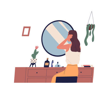 Young woman sitting at dressing table and primping her hair. Cute girl making hairstyle in front of mirror. morning routine, start of working day, everyday life. Flat cartoon vector illustration
