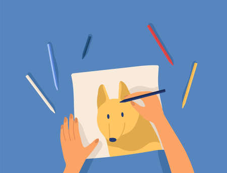 Hands creating artwork - drawing cute funny dog with colorful pencils. Creative workshop lesson or tutorial. Leisure, hobby or pastime activity. Modern flat cartoon colorful vector illustration