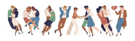 Colección de lindos jóvenes que demuestran atracción romántica y hacia los demás. Heterosexual, homosexual, pansexual, orientaciones, poliamor. Ilustración de vector de dibujos animados plana. Ilustración de vector
