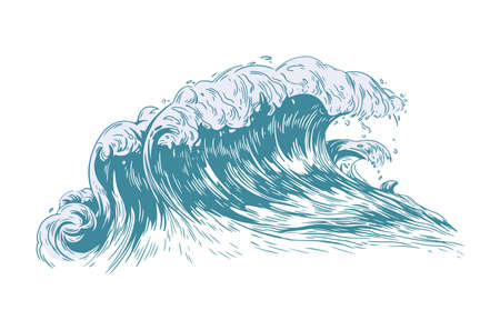 Stylish drawing of sea or ocean wave with foaming crest isolated on light background. Oceanic storm, tide, tsunami seawave. Seawater or saltwater. Realistic vector illustration in antique style
