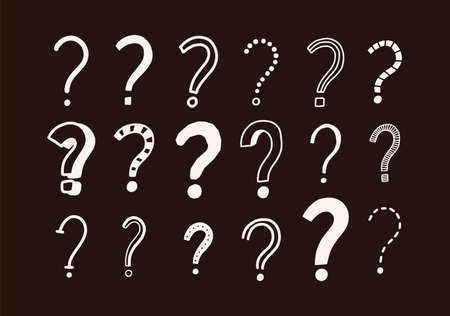Set of doodle drawings of question marks. Collection of interrogation points hand drawn with contour lines on dark background. Brainstorm or challenge symbols. Monochrome vector illustration.