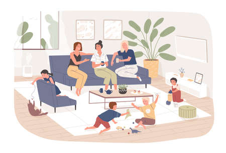 Group of female friends sit on comfy sofa, drink tea and chatter while their children play. Young mothers spending time together at home. Friendly meeting. Flat cartoon colorful vector illustration