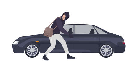 Thief, burglar or rubber dressed in hoodie sneaking to break automobiles window. Criminal committing crime. Motor vehicle theft scene, unlawful act. Flat cartoon colorful vector illustration. Illustration