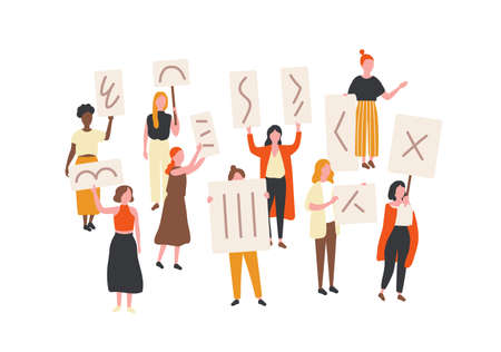 Crowd of protesting women holding banners and placards. Feminism activists taking part in political mass meeting, parade or rally. Group of feminist protesters. Flat cartoon vector illustration