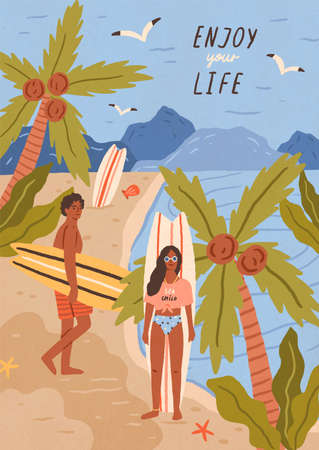 Cute happy young man and woman with surfboards on tropical sandy beach. Pair of smiling surfers on sea or ocean coast. Summer vacation at exotic resort. Flat cartoon colorful vector illustration