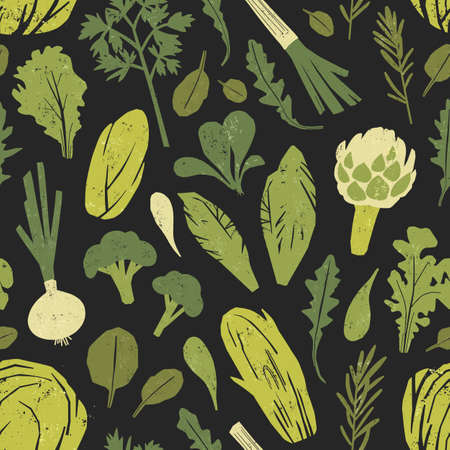 Seamless pattern with tasty green plants, salad leaves and spice herbs on black background. Backdrop with fresh vegetables. Colorful vector illustration for fabric print, wrapping paper, wallpaper