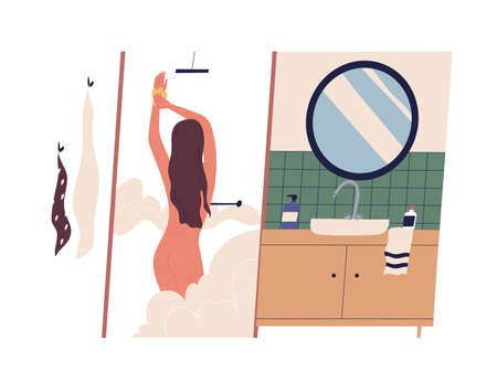 Cute young naked woman taking shower and lathering her body. Female cartoon character washing in bathroom. Daily routine, morning personal hygienic procedure. Flat colorful vector illustration.
