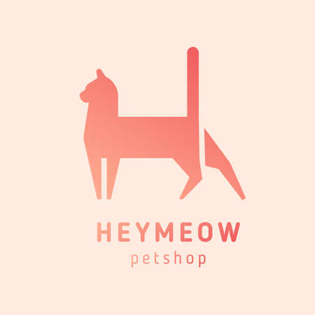 Logotype with silhouette of cat. Logo with domestic animal. Abstract geometric design element isolated on white background. Monochrome flat vector illustration for pet shop or store identity. 矢量图像