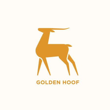 Logotype with silhouette of antelope or gazelle. Logo with elegant wild herbivorous animal. Design element isolated on white background. Monochrome flat vector illustration for brand identity.