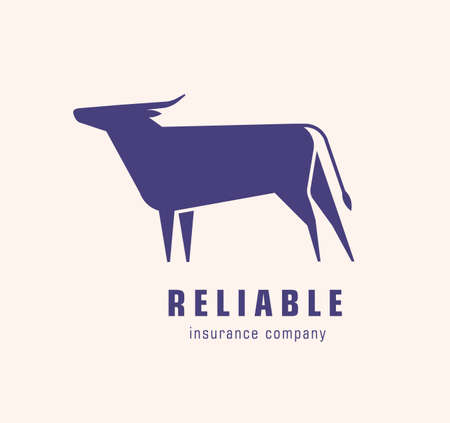 Logotype with silhouette of bull or ox. Logo with elegant bovine herbivorous animal. Design element isolated on white background. Monochrome flat vector illustration for insurance company identity.