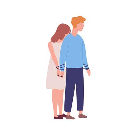 Junge unglückliche Frau, die an den Mann gebunden ist. Konzept der Co-Abhängigkeit, Co-Abhängigkeit. Geisteskrankheit, Verhaltensproblem, psychiatrische Erkrankung, Besessenheit. Bunte Vektorillustration der flachen Karikatur Vektorgrafik