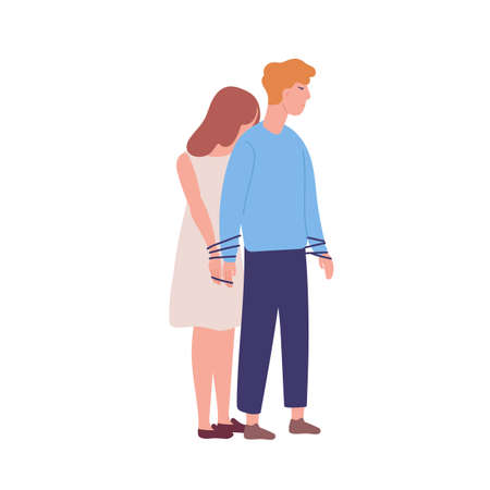 Young unhappy woman tied to man. Concept of codependency, codependent relationship. Mental illness, behavioral problem, psychiatric condition, obsession. Flat cartoon colorful vector illustration Ilustração