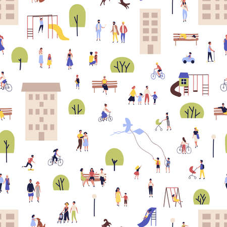 Seamless pattern with men and women walking, riding bikes, sitting on bench in city suburbs, outskirts. Backdrop with people performing outdoor activities on street. Flat cartoon vector illustration