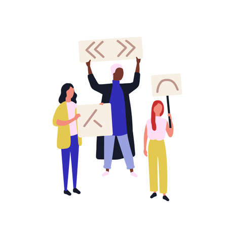 Group of political activists or demonstrators holding banners or placards. People taking part in social protest meeting, demonstration, picketing, rally or march. Flat cartoon vector illustration  イラスト・ベクター素材