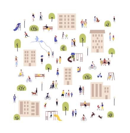 People walking with children or dogs, riding bikes, sitting on bench in city suburbs or outskirts. Cartoon men and women performing outdoor activities on suburban street. Flat vector illustration