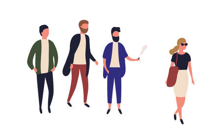 Beautiful woman passing by group of young men. Street harassment, catcalling and wolf-whistling. Offensive or abusive behavior, domination and assault. Flat cartoon colorful vector illustration Illustration