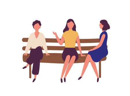 Group of cute young women sitting on bench at park and talking. Outdoor meeting of female friends. Funny flat cartoon characters isolated on white background. Modern colorful vector illustration Stock Illustratie