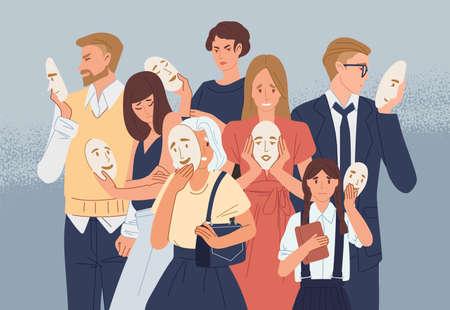 Gruppo di persone che si coprono il viso con maschere che esprimono emozioni positive. Concetto di nascondere la personalità o l'individualità, problema psicologico. Illustrazione vettoriale colorato piatto del fumetto Vettoriali