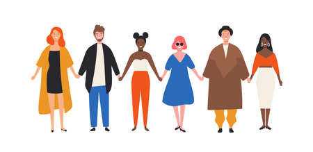 Nette glückliche junge Männer und Frauen, die Händchen halten. Lustige lächelnde Leute, die zusammen in Reihe stehen. Gruppe fröhlicher Freunde. Union, Gemeinschaft, Verein. Bunte Vektorillustration der flachen Karikatur