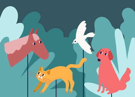Marionetas de varilla que se asemejan a animales en el bosque. Espectáculo teatral de entretenimiento tradicional o espectáculo y narración de cuentos para niños con personajes de cuento de hadas. Ilustración de vector colorido de dibujos animados plana