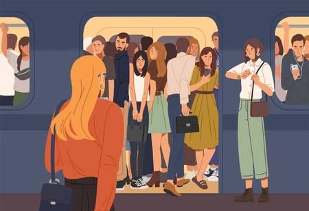 Junge Frau, die versucht, U-Bahn-Wagen voller Leute zu betreten. Überfüllte U- oder U-Bahn. Problem der Überbevölkerung der Städte und des städtischen Verkehrs. Flache Cartoon bunte Vektor-Illustration. Vektorgrafik