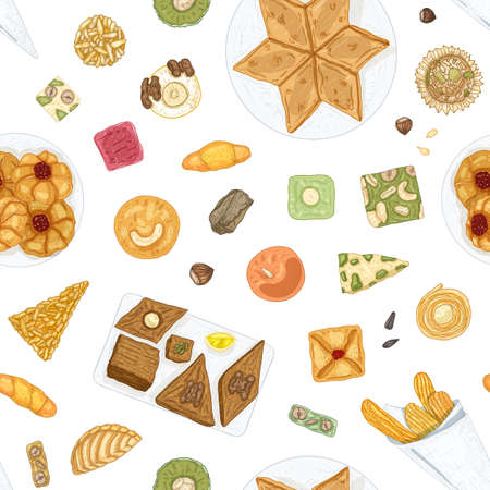 Hand drawn seamless pattern with traditional oriental confections or delicious pastry on white background. Elegant backdrop with delicious desserts for tea party. Vector illustration for fabric print